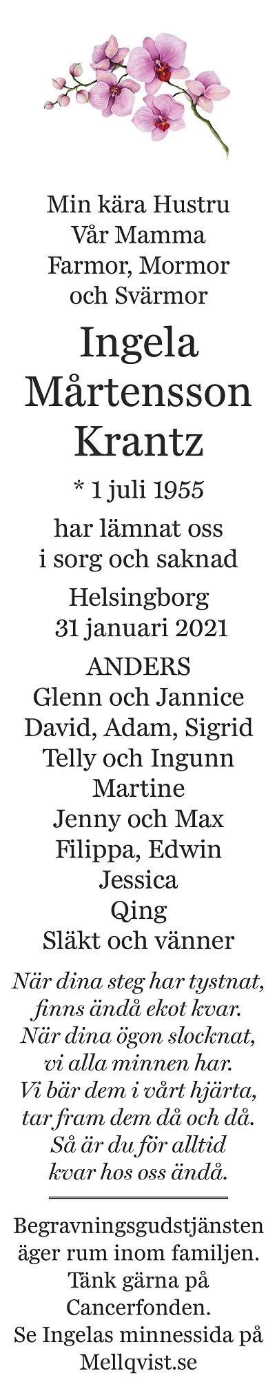 Ingela  Mårtensson Krantz Death notice