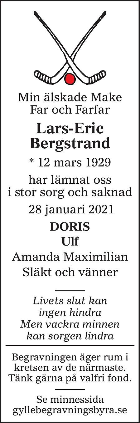 Lars-Eric Bergstrand Death notice