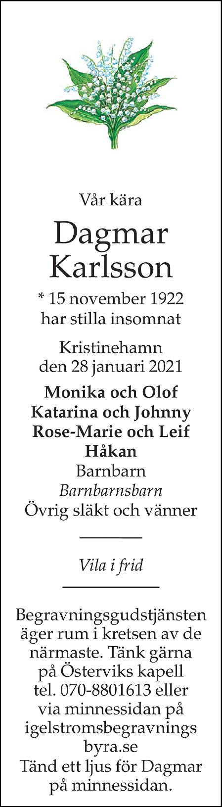 Dagmar Karlsson Death notice