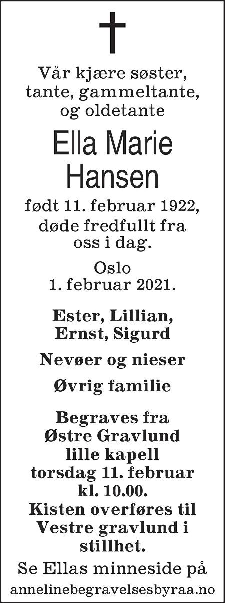 Ella Marie Hansen Dødsannonse