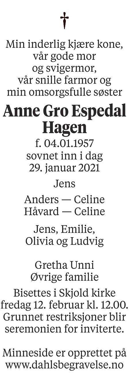 Anne Gro Espedal Hagen Dødsannonse