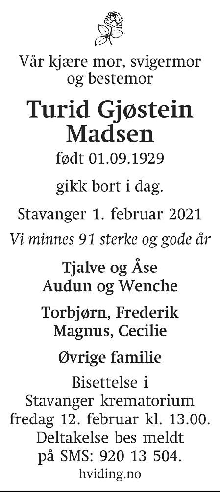 Turid Gjøstein Madsen Dødsannonse