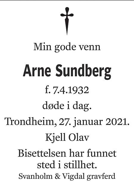Arne Sundberg Dødsannonse