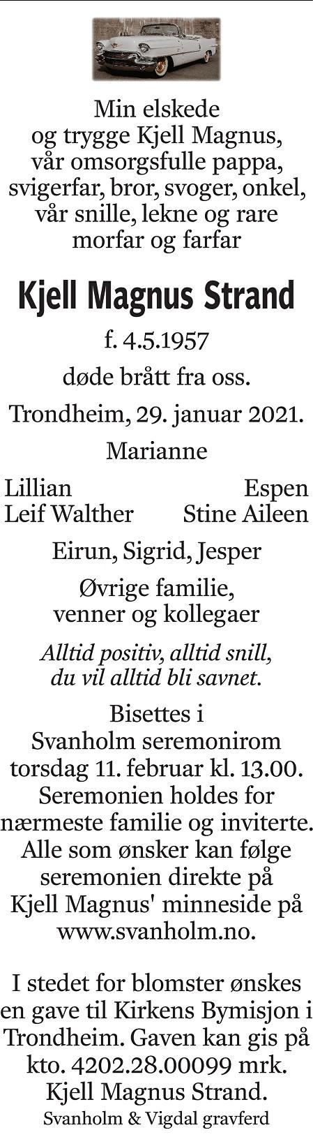 Kjell Magnus Strand Dødsannonse