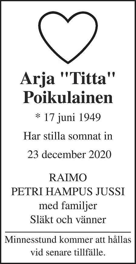 """Arja """"Titti"""" Poikulainen Death notice"""