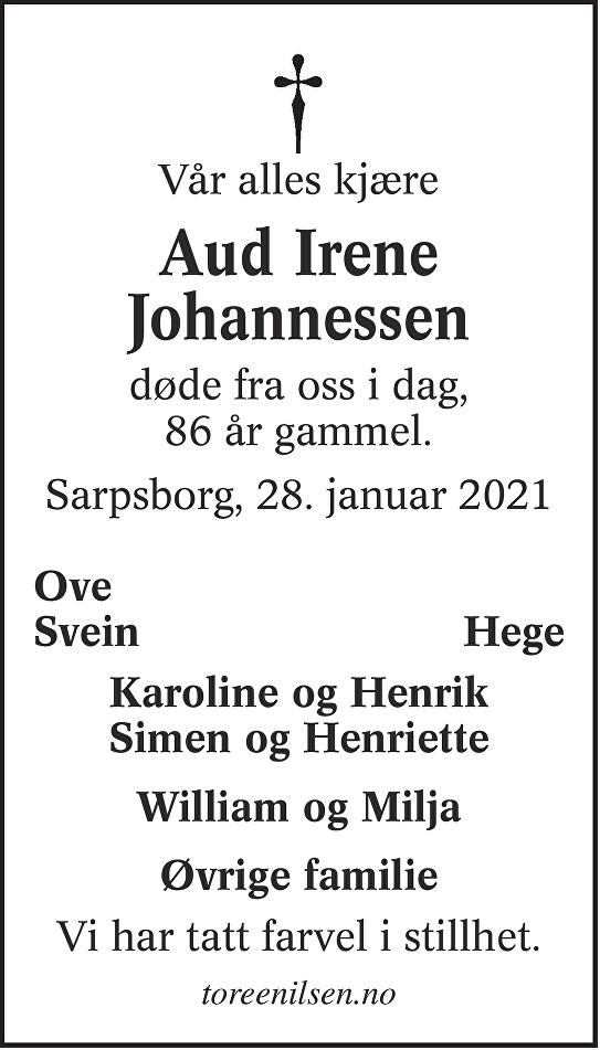 Aud Irene Johannessen Dødsannonse