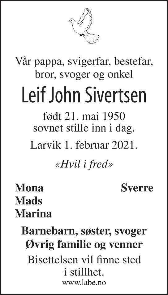 Leif John Sivertsen Dødsannonse