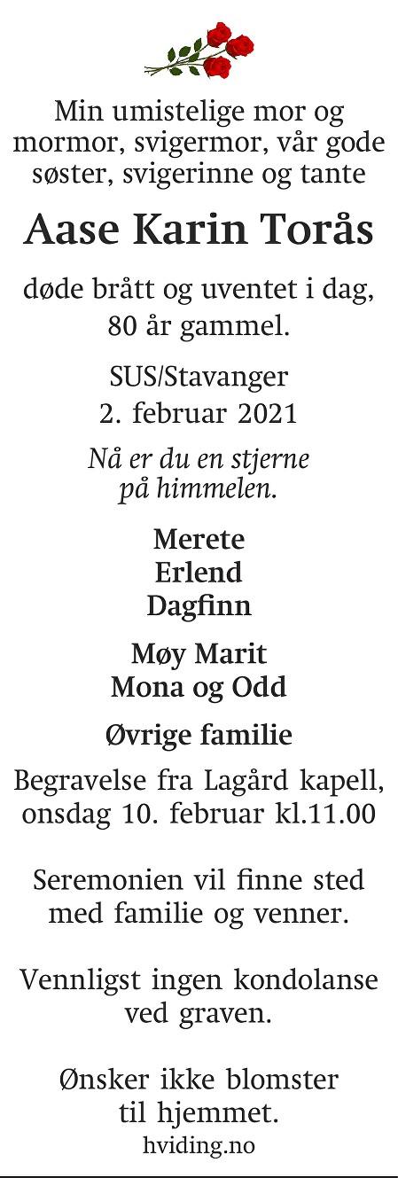 Aase Karin Torås Dødsannonse