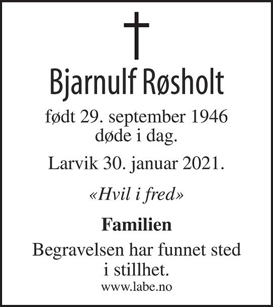 Bjarnulf Røsholt Dødsannonse
