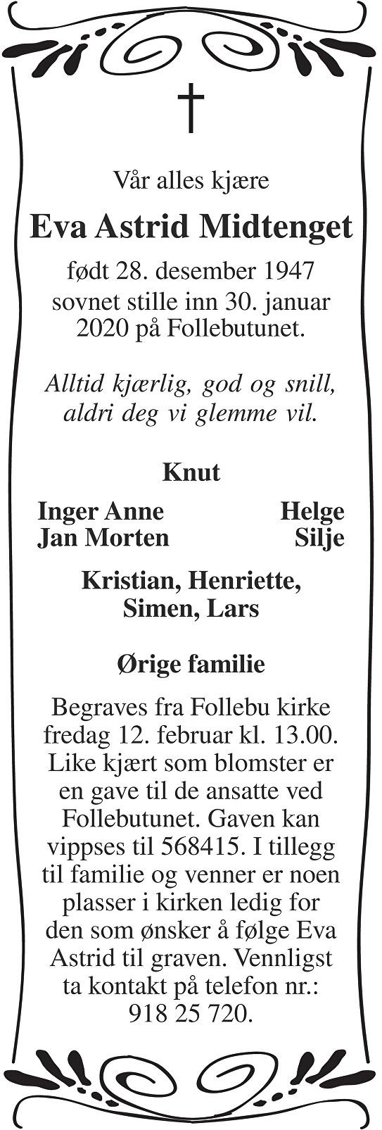 Eva Astrid Midtenget Dødsannonse