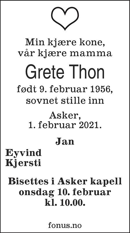 Grete Thon Dødsannonse