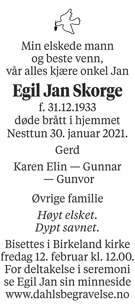 Egil Jan Skorge Dødsannonse