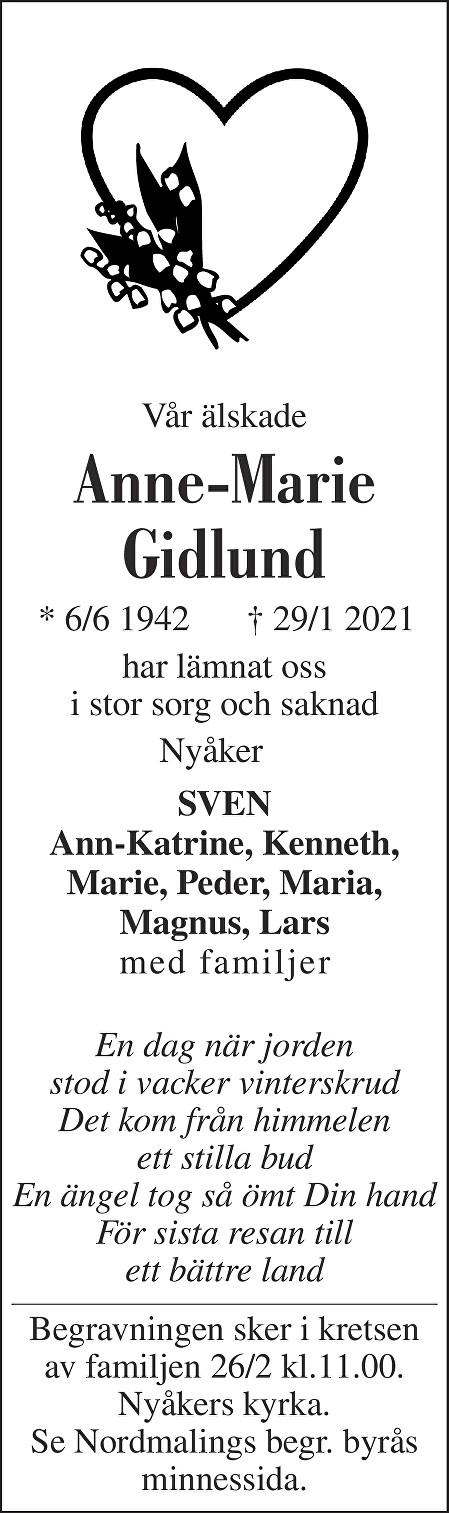 Anne-Marie Gidlund Death notice