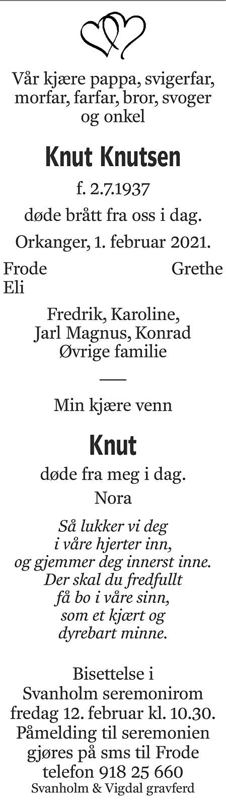 Knut Knutsen Dødsannonse