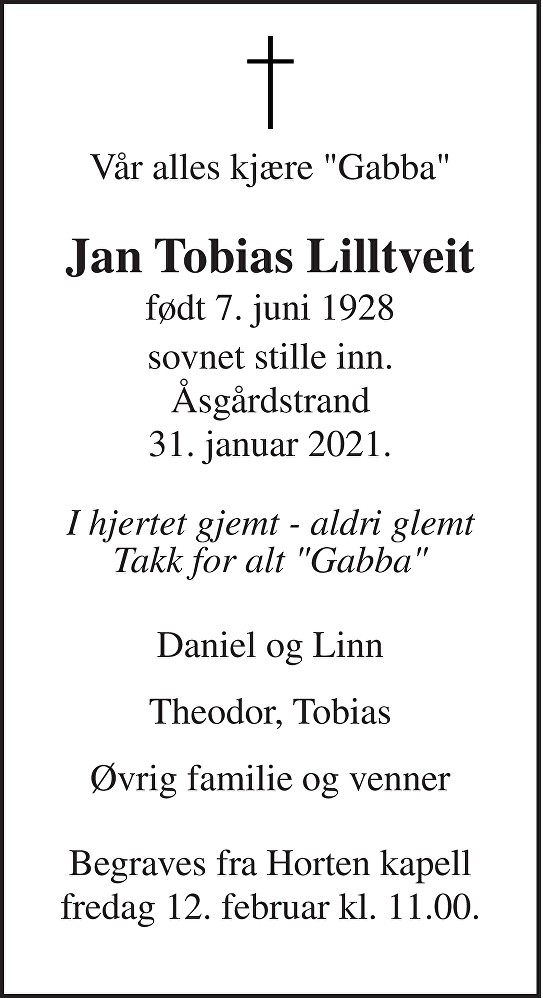 Jan Tobias Lilltveit Dødsannonse