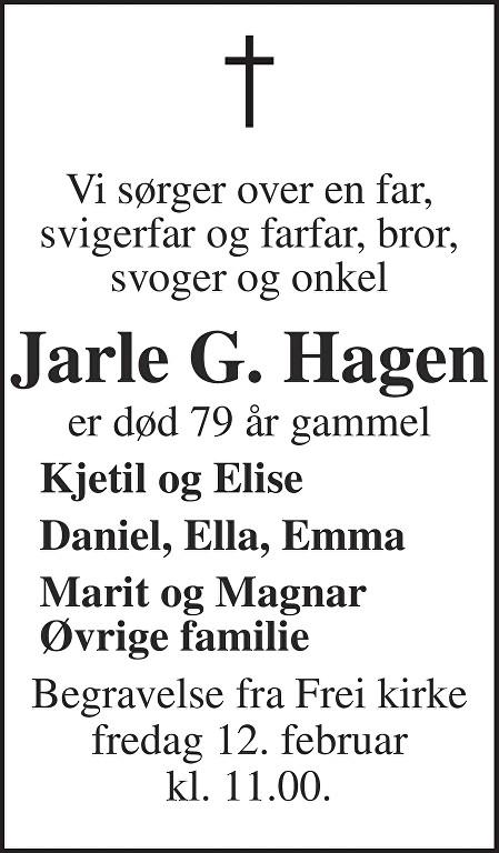 Jarle Gunnar Hagen Dødsannonse