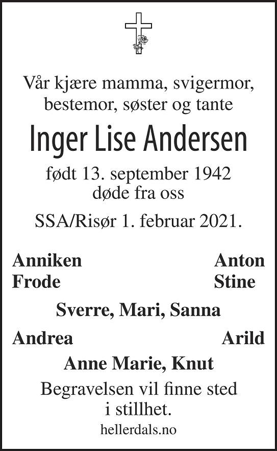 Inger Lise Andersen Dødsannonse