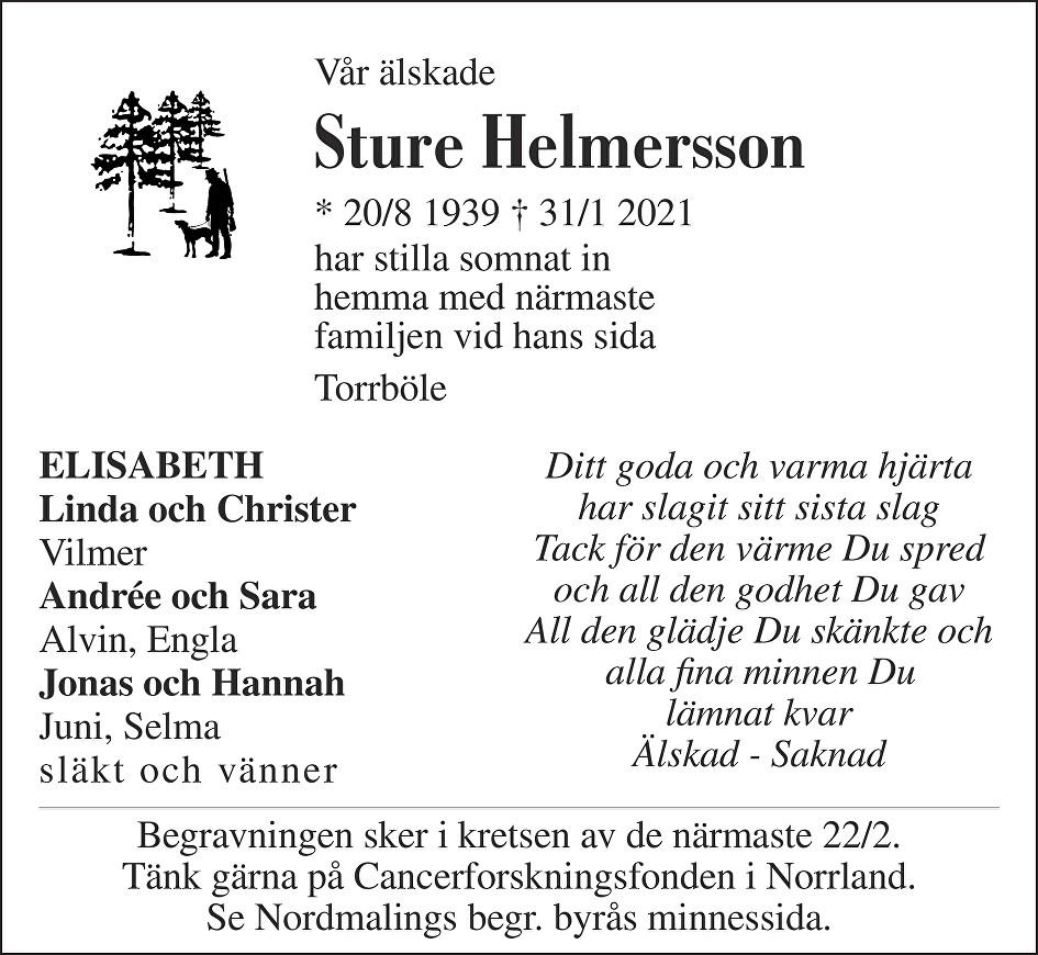 Sture Helmersson Death notice