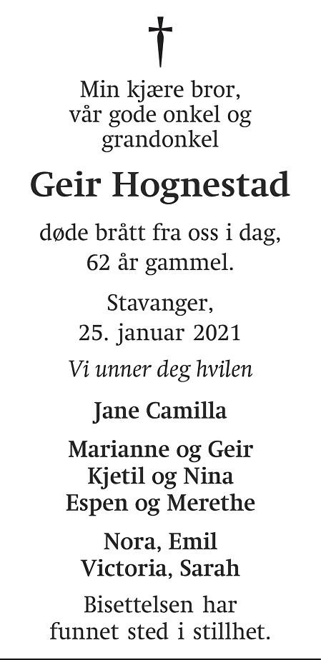Geir Hognestad Dødsannonse