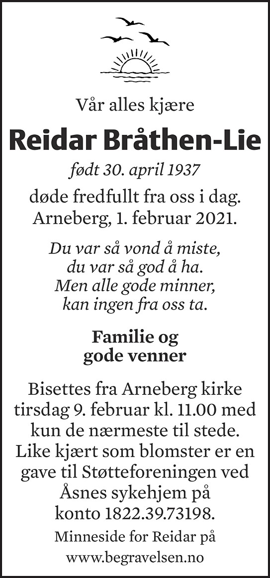 Reidar Otto Bråthen-Lie Dødsannonse