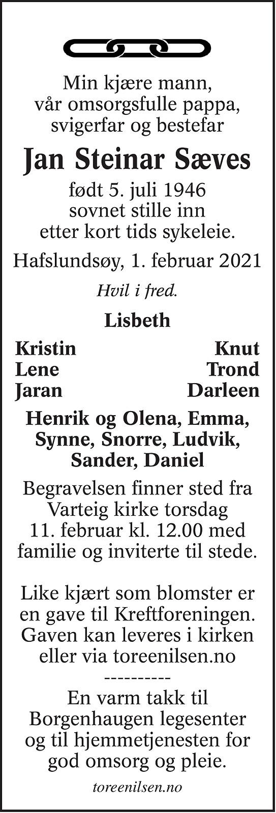 Jan Steinar Sæves Dødsannonse