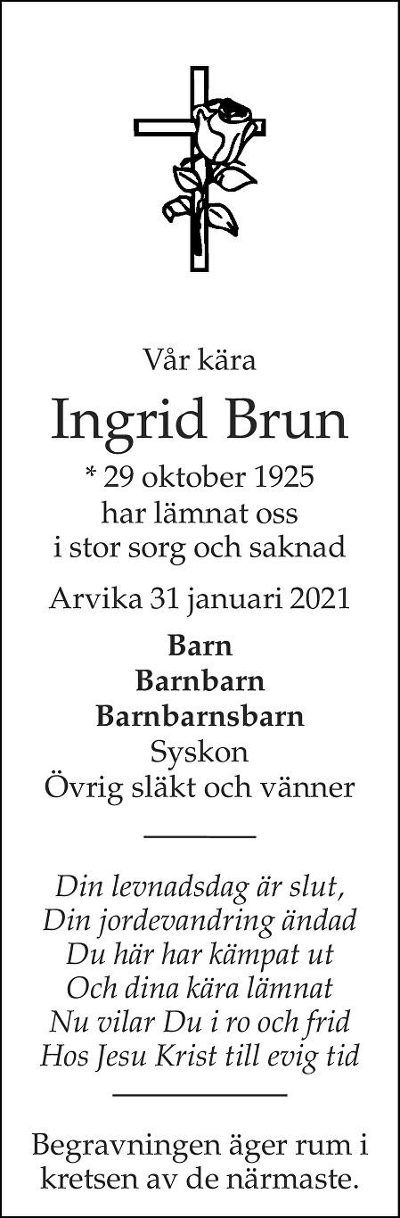 Ingrid Brun Death notice