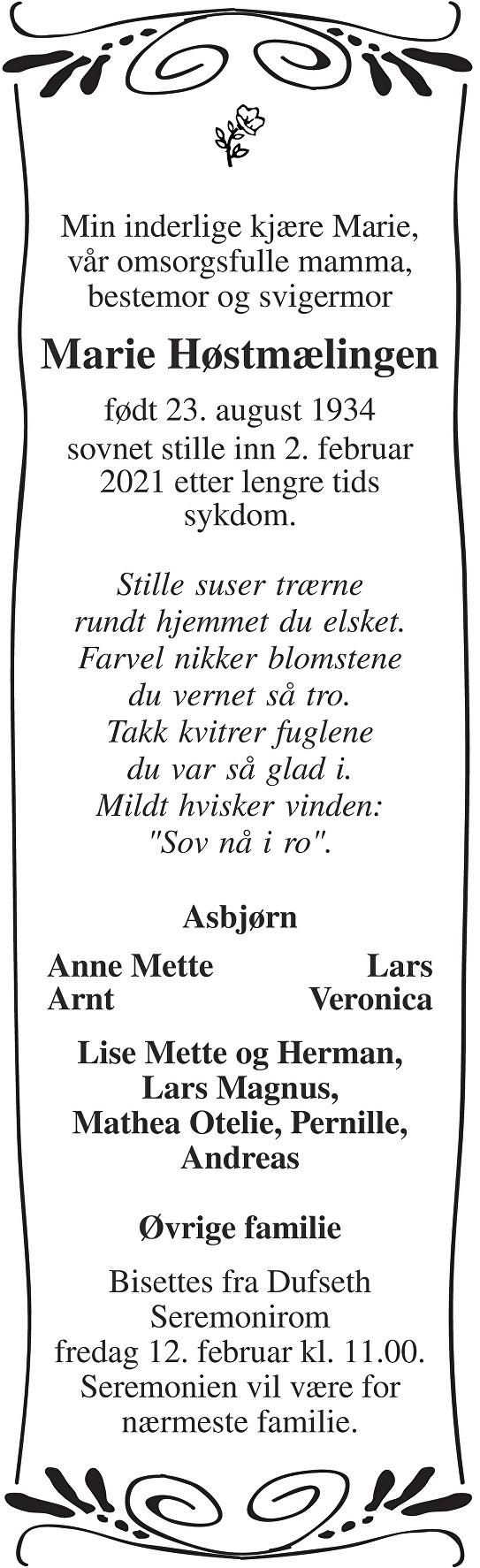 Marie Høstmælingen Dødsannonse