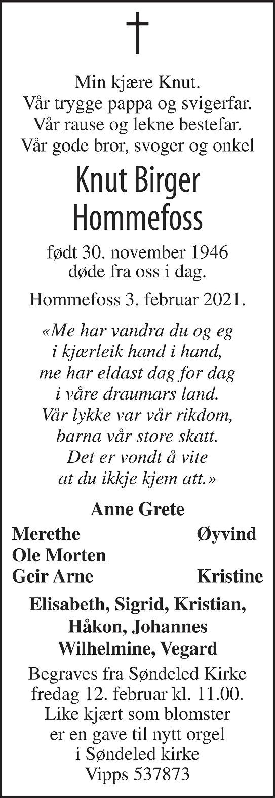 Knut Birger Hommefoss Dødsannonse