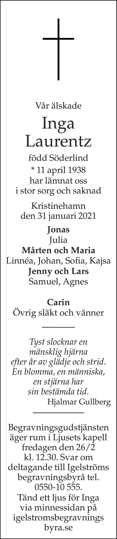 Inga Laurentz Death notice