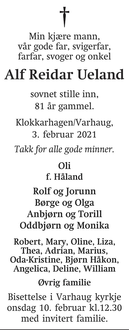 Alf Reidar Ueland Dødsannonse