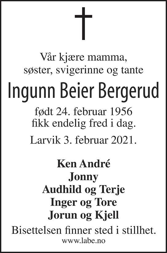 Ingunn Beier Bergerud Dødsannonse