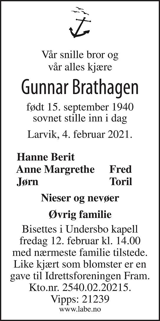 Gunnar Brathagen Dødsannonse
