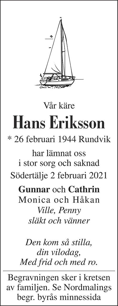 Hans Eriksson Death notice