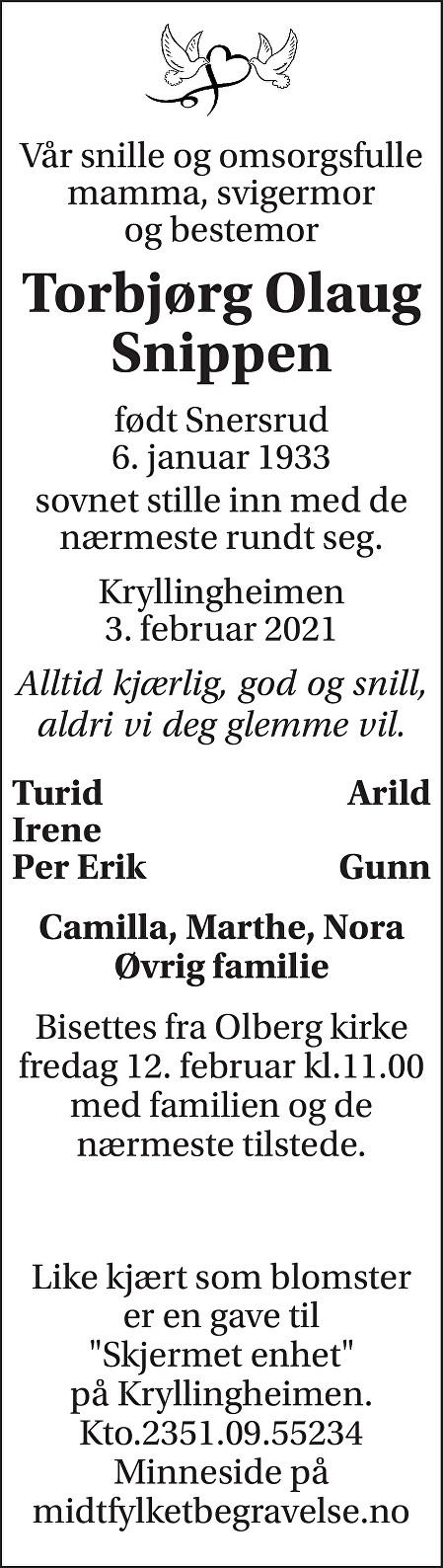 Torbjørg Olaug Snippen Dødsannonse