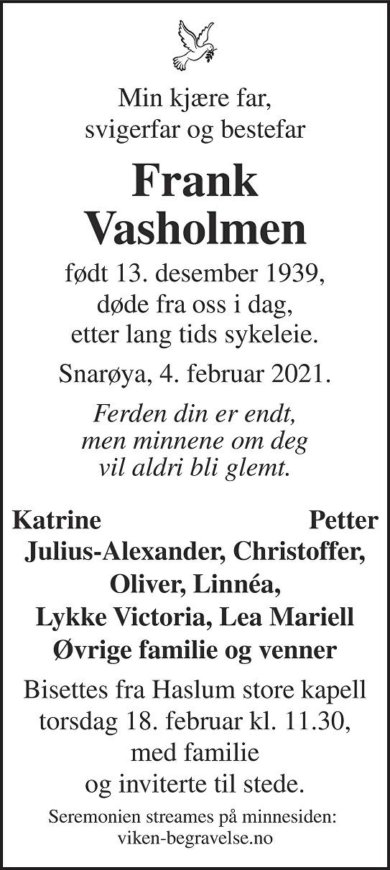 Frank Vasholmen Dødsannonse