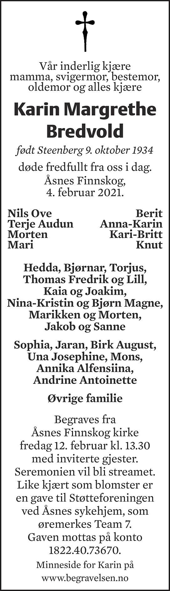 Karin Margrethe Bredvold Dødsannonse