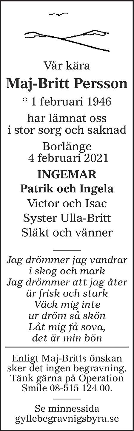 Maj-Britt Persson Death notice