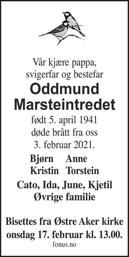Oddmund Marsteintredet Dødsannonse