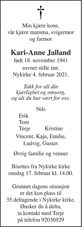 Kari-Anne Jalland Dødsannonse