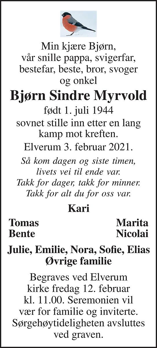 Bjørn Sindre Myrhrvold Dødsannonse