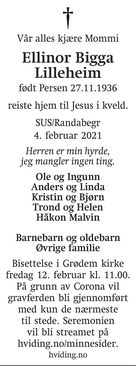 Ellinor Bigga Lilleheim Dødsannonse