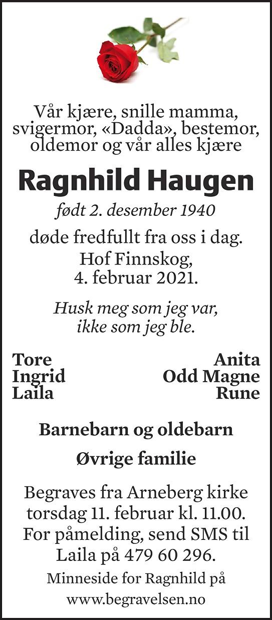 Ragnhild Haugen Dødsannonse