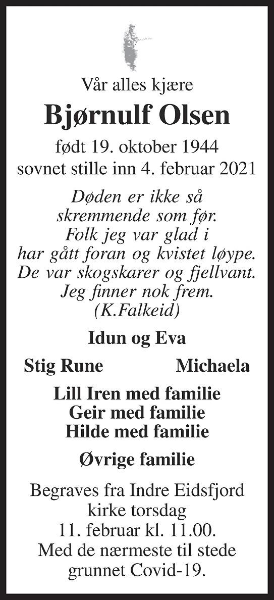 Bjørnulf Gudmund Olsen Dødsannonse
