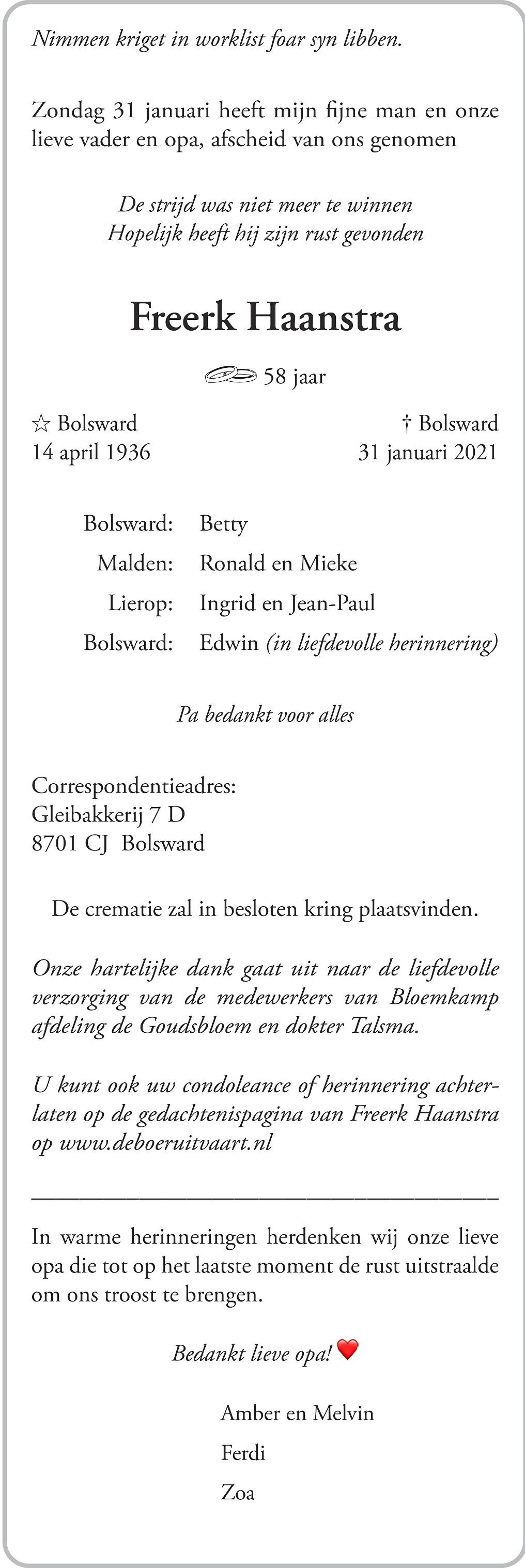 Freerk Haanstra Death notice