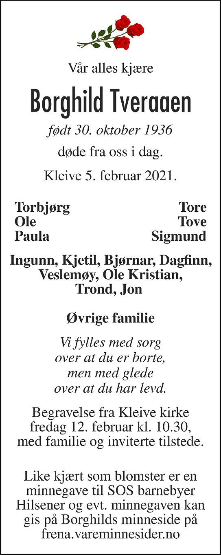 Borghild Tveraaen Dødsannonse