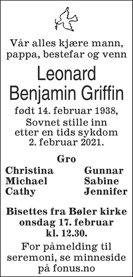Leonard Benjamin Griffin Dødsannonse