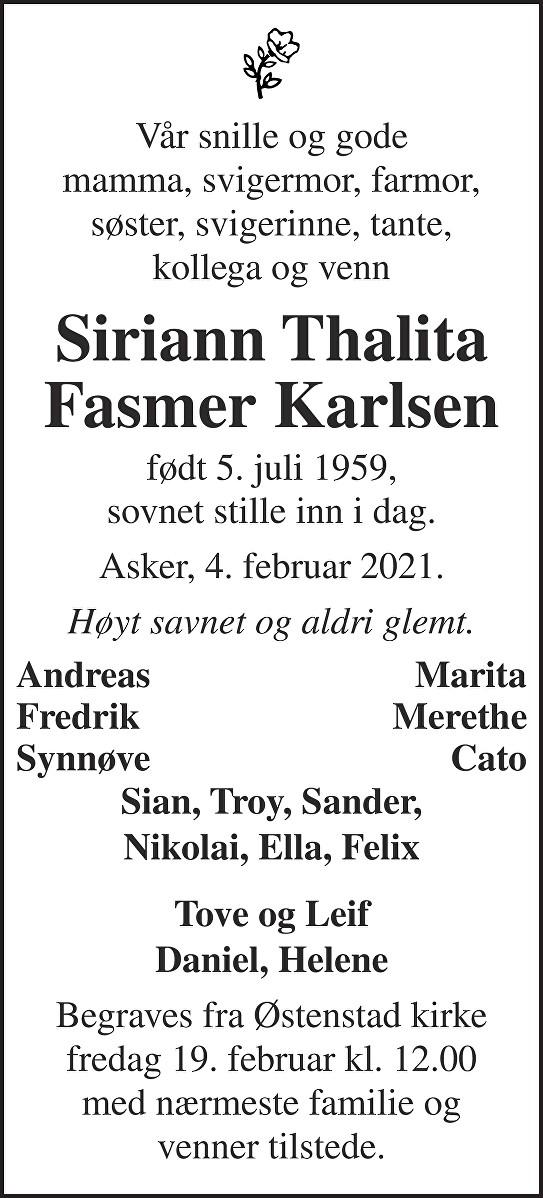 Siriann Thalita Fasmer Karlsen Dødsannonse