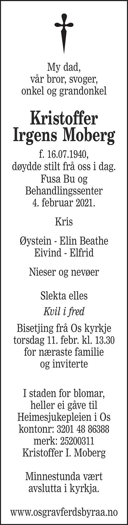 Kristoffer Irgens Moberg Dødsannonse
