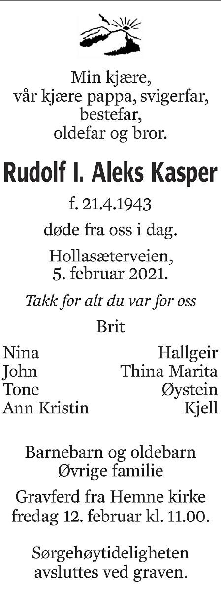 Rudolf Kasper Dødsannonse
