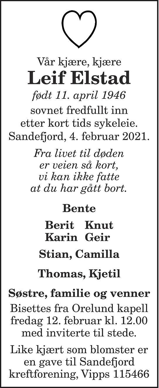 Leif Elstad Dødsannonse